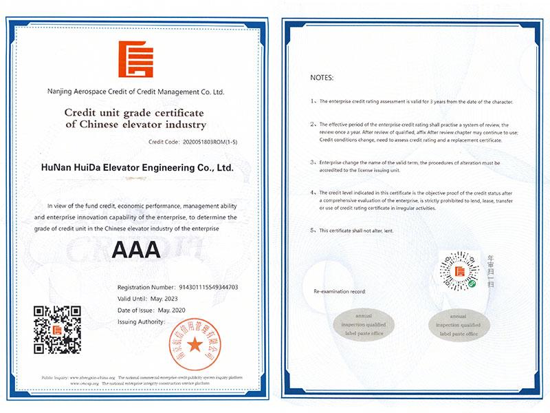 中国必威体育官方竞猜行业诚信单位等级证书(英)